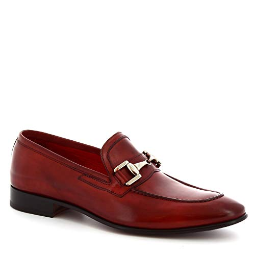 Leonardo Shoes Mocassini con Morsetto da Uomo Artigianali in Pelle Rossa - Codice Modello: 7675 Montecarlo delav Rosso - Taglia: 43 EU