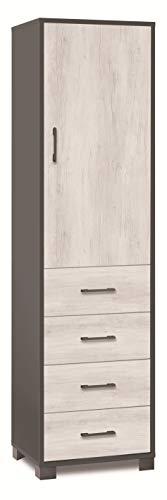 Esidra Armadio Contenitore 1 Anta + 4 cassetti, Legno Bicolore, 193 x 41 x 50 cm