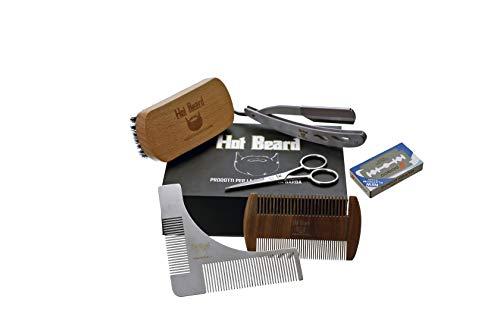Kit/Set per la cura della barba completo di Rasoio, lame, Spazzola, Pettine da barba e Forbici