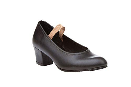 ANGELITOS Zapatos Sevillana Profesional Piel Negro Punta Tacón Metálicos, Mod.303, Calzado Made In Spain. (32)