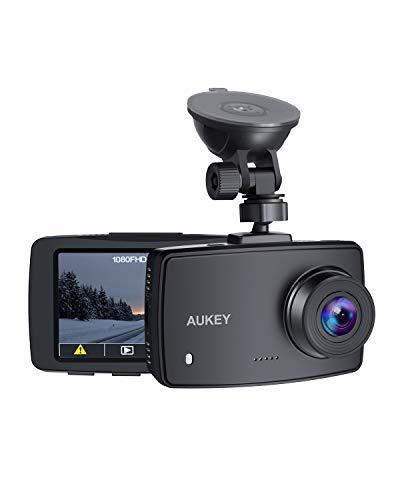 """AUKEY Dash Cam, Caméra embarquée 1080p avec Objectif Grand Angle 140°, écran LCD 2,7"""", Enregistrement d'urgence et en Boucle, Détection de mouvements, et Enregistrement Nocturne Clair"""