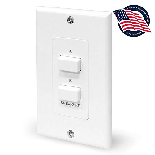 in Wall Speaker Selector Switch - Home Audio 2-Channel A/B Dual Channel Speakers Controller Pod Box - Control and Activates (2) Pair of Indoor or Outdoor Speakers - Pyle PVCS2