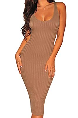 Details: women's basic bodycon midi tank dress,sleeveless,knee length,ribbed knit dress,scoop neck,maternity tank top dress,solid color. Style: Knit dress with ribbed styling, This sexy tank bodycon dress made with stretch helps you look your best fr...
