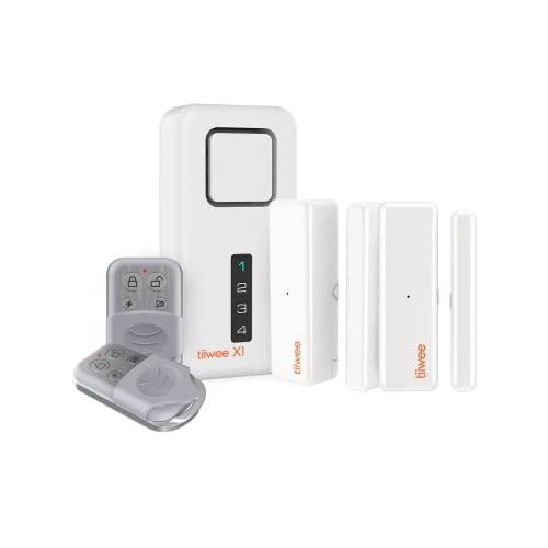 tiiwee Système d'Alarme de Sécurité Kit X1 - sans Fil - Alarme Maison Appartement Garage avec X1 Sirène, 2 Capteurs de Fenêtre et de Porte, 2 Télécommandes - Extensible