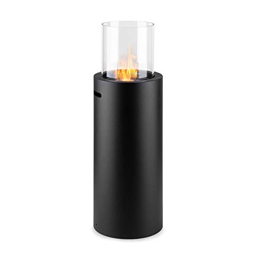 Klarstein Phantasma Skyfire Ethanol Fireplace - Standing Fireplace, Safety Burner with 1.5 L, 3.5 Hours Burning Time, Extinguishing Aid, Odourless, Powder-Coated Steel, Safety Glass - Black