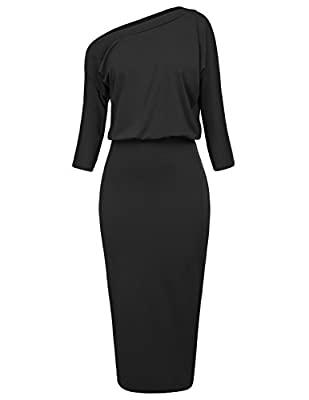 Notice: The solid plain pencil dress with 3/4 sleeve or short sleeve and velvet leopard dress have slits on the sides; the shiny dresses (Black-2, Bronze-2 and Grey-2) have no slits on the sides. Features: Pencil dress for women work,asymmetrical slo...