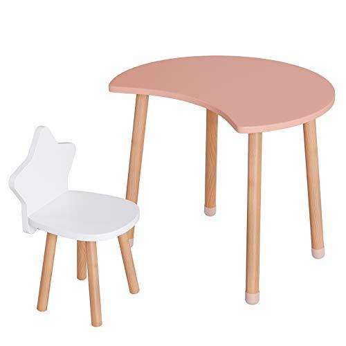 Homfa Kindersitzgruppe Kindertisch mit 1 Kinderstühlen Sitzgruppe Kindermöbel für Kleinkinder Holz rosa