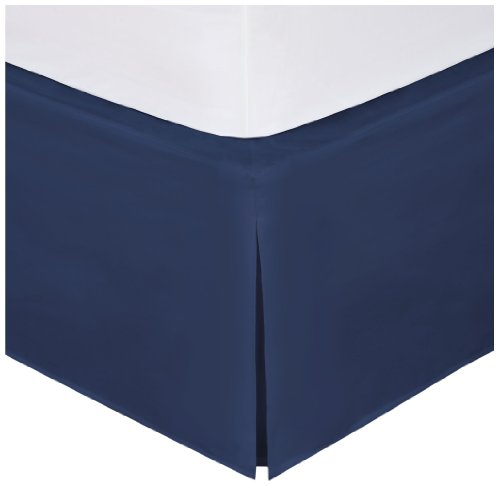 Magic Skirt Tailored Bedskirt, Never Lift Your Mattress, Classic 14 drop length, Pleated Styling, California King, Navy
