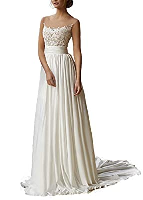 ♥Feature: A-Line Style Appliqued Lace wedding dresses For Women , Lace beach boheimian bridal dress , Lace Tulle and Satin wedding gown For Bride Fall winter , Floor length, Sleeveless straps ,With Built-in bra, beautiful lace flower beaded wedding d...