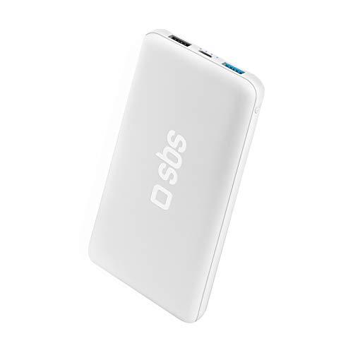 SBS Power Bank Caricabatterie Portatile da 10.000 mAh a Ricarica Rapida, 2 uscite USB da 1A e 2.1A, Ingresso Micro USB, Design Extra Slim, 4 indicatori LED di Stato, Cavo USB Incluso