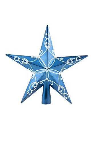 Clever Creations - Adorno para coronar el árbol de Navidad - Ideal para árboles de Cualquier tamaño - Plástico Brillante Resistente a los Golpes - Estrella Azul - 20,3 cm