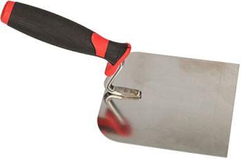 KOTARBAU® Truelle de maçon en acier inoxydable - 120 mm x 128 mm - Avec poignée en caoutchouc