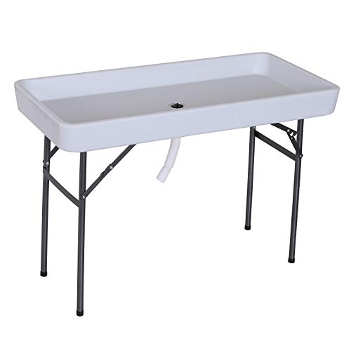 Outsunny 4FT Portable Folding Fish Fillet Cleaning Table Camping Picnic Ice Party Desk with Sink