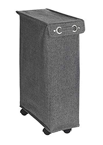 WENKO Wäschesammler Corno Prime Schwarz/Weiß - Wäschekorb mit Deckel Fassungsvermögen: 43 l, Polyester, 18.5 x 60 x 40 cm, Schwarz