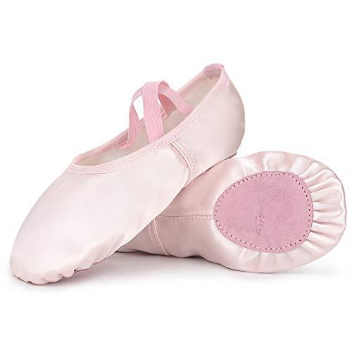 Soudittur Zapatillas de Ballet Satén -Media Punta Calzado de Danza para Niña y Mujer Adultos Suela Partida de Cuero Rosa Tallas 25 (Elija Un Tamaño Más Grande)