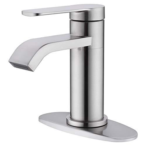 Zexzen Single Hole Bathroom Faucet with Deck Plate, Brushed Nickel Waterfall Single Handle Bathroom Faucet, Modern Bathroom Sink Faucet with Supply Hose Lead-Free (Brushed Nickel)