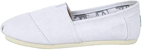 Dooxii Unisex Hombre Mujer Ocasionales Loafer Zapatos Moda Color Sólido Planos Alpargatas Blanco 41(25.5cm)