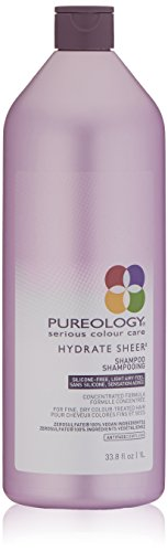 Pureology Hydrate Sheer Moisturizing Shampoo | For Fine, Dry Color Treated Hair | Sulfate-Free | Silicone-Free | Vegan | 33.8 oz.