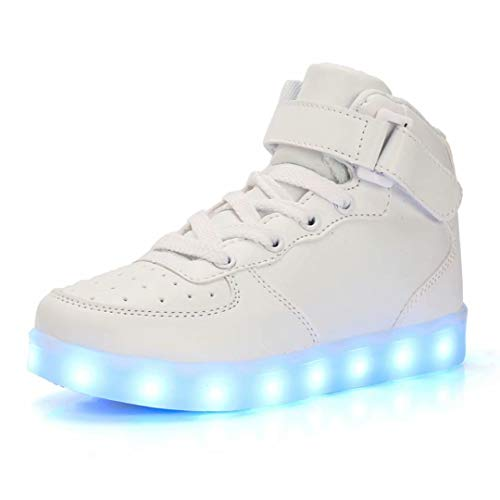 QTMS Boys Girls Breathable LED Light Up Shoes