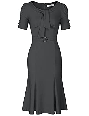 Pinup 1950s Mermaid Style,Tie Neck and Button Decoration,Ruched Sleeve Comfy Little Stretchy Fabric Concealed zipper at back,Belt Waist,Knee Length Fishtail Dress Great for Formal,Evening Party,Prom,Business Office and Special Occasion Do carefully r...