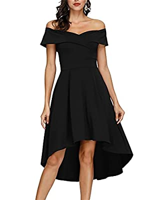 💓 MATERIAL: 95%Polyester+5%Spandex. The material is soft, thick and stretchy, very comfortable to wear, great for spring,fall,winter. 💓 FEATURES: Off shoulder, Unique high low hem, Asymmetry hem, Foldover off-the-shoulder sleeves,Flared swing, Above ...
