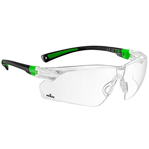 NoCry - Occhiali di sicurezza con lente trasparente, antigraffio, anti appannamento, avvolgenti, presa antiscivolo, protezione UV400, 506UG