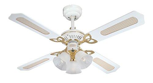 Westinghouse Ventilatore a Soffitto Princess Trio E14, 60 W, Finitura ottono lucidato, Pale, Canna/Bianco
