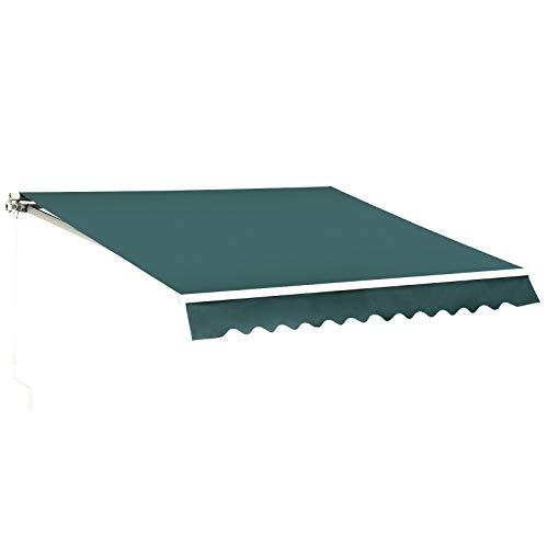 MCombo 12x10 Feet Manual Retractable Patio Door Window Awning Sunshade Shelter Outdoor Canopy (Green)