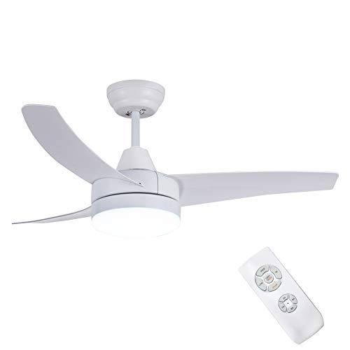 CJOY Plafonnier avec Ventilateur Silencieux, Ventilateurs de Plafond avec éClairage Silencieux avec TéLéCommande Blanc Ivoire 42 Pouces 3 Pales de Ventilateur En ABS LumièRe Led 24W AC Moteur