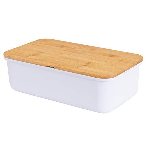 Mack geräumiger Brotkasten aus Melamin Brotbox mit Bambusdeckel als Schneiderbret Maße 38 x 21 x 13cm in Farbe weiß