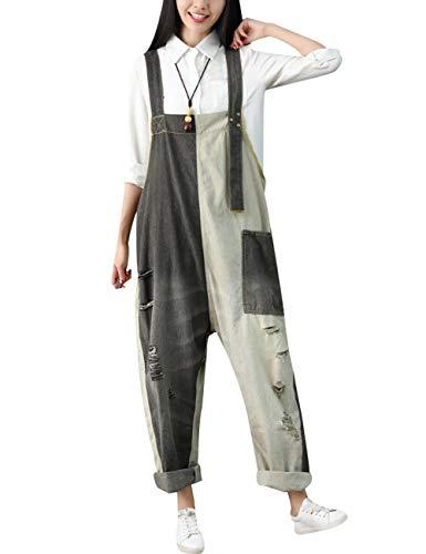 Youlee Damen Sommer Breites Bein Hose Denim Latzhose Overall Hosen Style 17 Grey