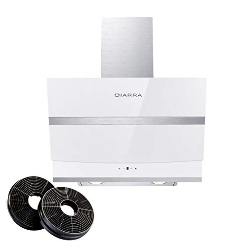 CIARRA CBCW6736N Cappa Aspirante Cucina 60 cm in Acciaio Inox, 750 m / h Filtro Cappa Carboni Attivi, Cappa a Parete con Pannello Touch, Illuminazione a LED, Bianco