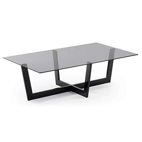 Kave Home - Tavolino rettangolare Plam 120 x 70 cm con piano in vetro e gambe in acciaio nero