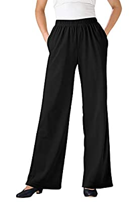 PLUS SIZING: Size Large will fit Plus sizes 18 to 20 These incredibly comfortable knit pants come in a wide-leg silhouette for easy movement. An elasticized waistband sits at the natural waist for a perfect fit every time, and soft cotton fabric is s...