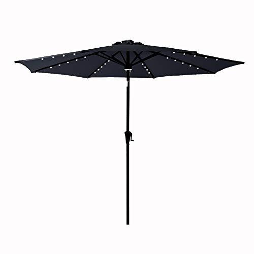 C-Hopetree 9 ft Outdoor Patio Market Umbrella with Solar LED Lights and Tilt - Black