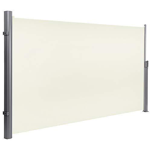 LARS360 Ausziehbar Seitenmarkise Sonnenschutz Sichtschutz Windschutz, Seitenwandmarkise Markisenstoff für Balkon und Terrasse Camping, Aus Polyester und Alu Metall Ständer (200x300cm, Beige)