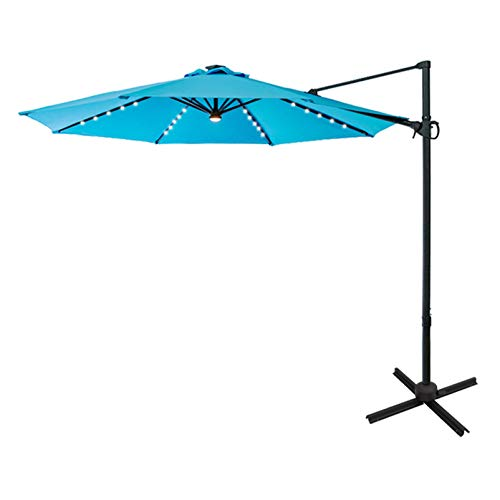FLAME&SHADE 10 ft Cantilever Offset Outdoor Patio Umbrella with Solar LED Lights Base Stand Rotate and Tilt - Beige