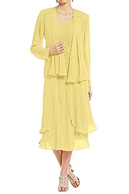 Dress detail: chiffon and lace material, Tea length,Zipper closure back,Lace bodies with a Chiffon jacket,Long A line style Wash care: Hand Wash. Cold Hang Dry. Occasion: Perfect for Mother of the bride / Groom Dresses,Wedding Party Gown,Western Wedd...