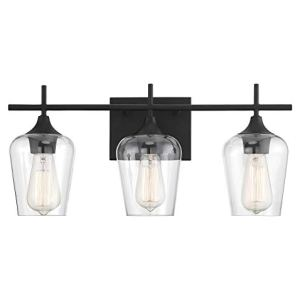 Savoy House 8-4030-3-BK Octave 3-Light Bathroom Vanity Light in a Black Finish with Clear Glass (21' W x 9' H)