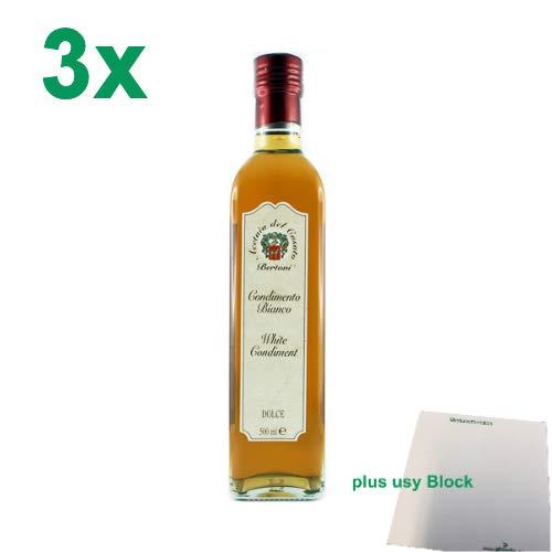 "Bertoni Condimento Bianco Dolce \""Weißweinessig Süß\"" 3er Pack (3x500ml) + usy Block"