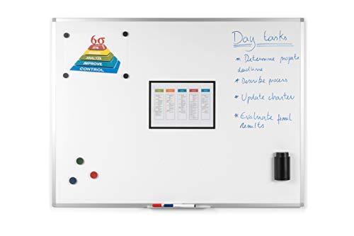 BoardsPlus - Magnetisches Whiteboard - 90 x 60 cm - Magnettafel mit Lackierte Stahloberfläche, Magnetwand mit Alurahmen Und Stifteablage