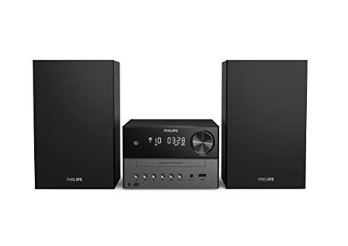 Philips M3505/12 Mini Chaîne Hi-Fi CD, USB, Bluetooth (Radio DAB+/FM, CD-MP3, 18 W, Port USB pour Charge, Enceintes Bass Reflex, Contrôle Numérique du Son) - Modèle 2020/2021