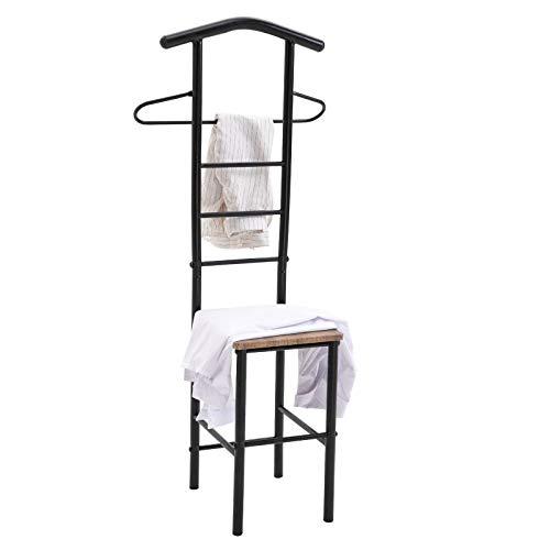 CARO-Möbel Herrendiener JIVO Stummer Diener Kleiderständer, Metallgestell schwarz und Ablage in Wildeiche, 121 cm, Garderobe mit Hosenbügel