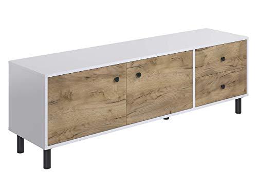 Marchio Amazon -Movian, mobile TV a 2 sportelli e 2 cassetti in stile rustico, modello Aggol, 40 x...