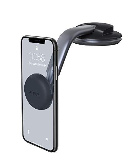 AUKEY Support Téléphone Voiture Magnétique Ventouse avec Rotation à 360 Degrés Support Portable Voiture Universel pour Tableau de Bord pour iPhone x/ 8/ 6, Samsung, Huawei, Xiaomi et GPS