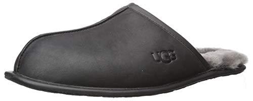 UGG Men's Scuff Slipper, Black Leather, 10