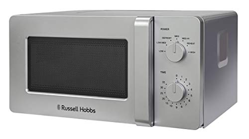 Russell Hobbs RHM1401S 14 L 600 W Silver Small and Compact Manual Microwave with 6 Power Levels, Automatic Defrost, Dial Control and Easy Clean, for Caravan and Home