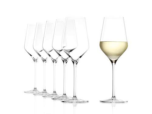 STLZLE LAUSITZ Calici da vino bianco Quatrophil 405ml I Set di 6 bicchieri da vino bianco I Infrangibili lavabili in lavastoviglie I Effetto soffiato I Cristallo pregiato I Alta qualit