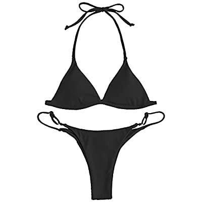 Bikini Material: Nylon,Spandex Bikini Features: braided strap, texture fabric, cute cutout.The strings were a bit long,you can separated them and cut the top one or cross them to create a different style Bikini Set:Special hollow out design which sho...