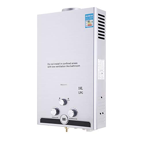 Z ZELUS 18L Gas-Durchlauferhitzer LPG Warmwasserbereiter Heißwasserbereiter Durchlauferhitzer Boiler Warmwasserspeicher Tankless Instant mit LED Bildschirm (18L)